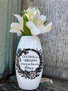 Vaso de parede travesseiro - Cultive as amizades como se fossem flores