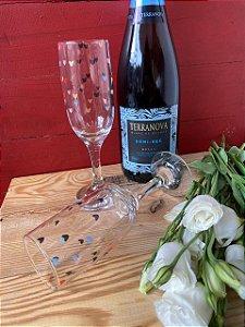 Kit duas taças Flut Champagne - corações