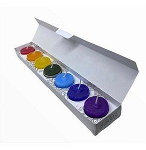 Kit Vela perfumada com as cores dos 7 Chakras - Meditação e harmonia.