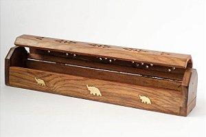 Incensário Box de madeira marrom com porta incenso 29cm. Artesanato Indiano com detalhes de elefante em metal.