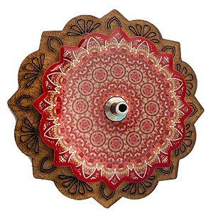 Incensário Mandala em resina e base em MDF - 7,5cm