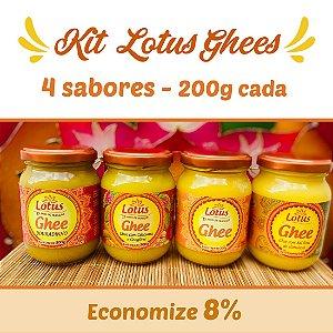 Lotus Kit 4 sabores Ghee 200g - Ghee Tradicional - Ghee com Sal rosa - Ghee Douradinho e Ghee com Cúrcuma e Gengibre