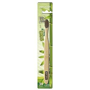 Escova dental natural de bambu Biodegradável  com cerdas de carvão ativado.