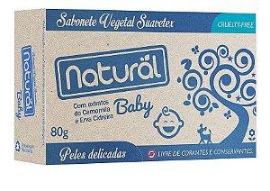 Sabonete  Glicerina Natural Baby com Extrato de Camomila e Erva Cidreira. Livre de Corantes e Conservantes.