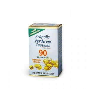 Extrato de Própolis verde em capsulas.  Contém 90 capsulas de 250 mg.