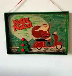 Enfeite para porta Papai Noel Vintage