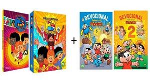 COMBO INFANTIL: Bíblia Ilustrada e Devocional 3 Palavrinhas + Devocional Turma da Mônica volumes 1 e 2
