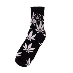 Meias Leaves 420 Friends Preto/Branco