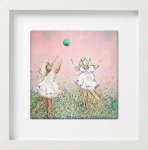 Meninas em fundo rosa
