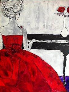 Pianista em Vestido Vermelho