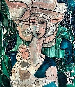 Mãe e Filha em Fundo Verde