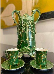 Conjunto de Porcelana verde esmeralda