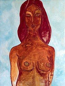 Mulher em Vermelho e Fundo Azul