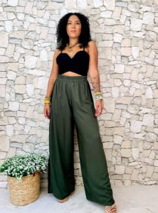 Calça Pantalona Faixa Lateral