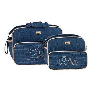 Kit Bolsa Bebê Masculino Textura Azul Marinho Elefante - Merver