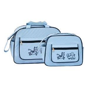 Kit Bolsa Bebê Masculino Matelassê Azul Safari - Merver