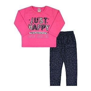 Conjunto Bebê Feminino Moletom Blusa Rosa Chiclete Happy e Calça Azul Marinho (1/2/3) - Viston