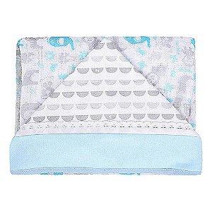 Toalha de Fralda Azul com Capuz Bichinhos - Fisher Price