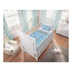 Jogo de Lençol Bebê Masculino Cebolinha e Cascão Branco e Azul (3 Peças) - Turma da Mônica