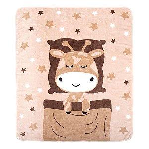 Cobertor Bebê Microfibra Bege Girafa (90x110cm) - Baby Joy