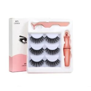 Kit Cílios Postiços Magnético Imã Mº5 + Delineador Volumoso - Maquiagem para Olhos - Cílios Postiços