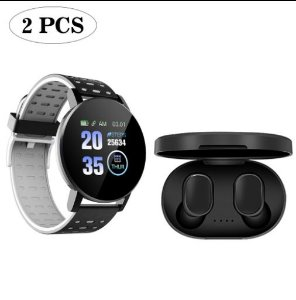 Kit de Smartwatch 119 Plus e Fone de Ouvido Bluetooth A6S