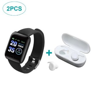 Kit de Fone de Ouvido Bluetooth Y30 e Smartwatch 116 Plus