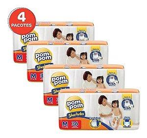 Fralda Pom Pom Shortinho M 144 Unidades Kit 4 Pacotes