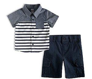Conjunto Curto Bebê Camisa Polo Tricoline Listrada com Bolso Short Sarja Botão Tip Top