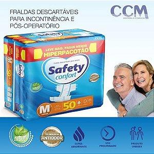 Fraldas Descartáveis Adulto Safety Confort HIPERPACOTÃO - Tamanho M - 50 Unidades