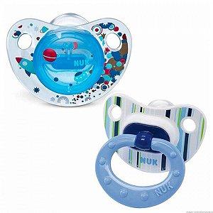 Kit NUK estilo com 2 Chupetas Boy Azul - Tamanho 2 - 6+ meses