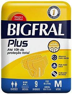 Fraldas Descartáveis Bigfral Plus Incontinência Intensa M - 9 Unidades