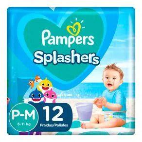 Fraldas descartáveis para água Pampers Splashers baby shark P-M 12 tiras