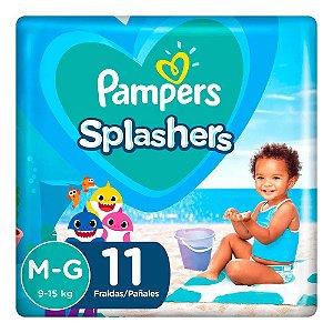 Fraldas descartáveis para água Pampers Splashers Baby Shark M-G 11 tiras