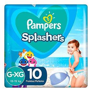 Fraldas para água Pampers Splashers Baby Shark G-XG 10 tiras