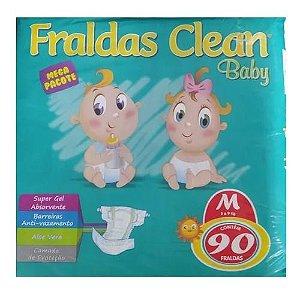 Fralda Infantil Clean Baby Tam M com 90 unid.