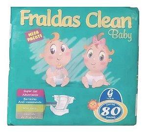 Fralda Infantil Clean Baby Tam G com 80 unid.