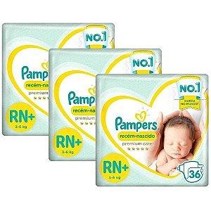 Kit Fralda Pampers Premium Care RN+ com 108 unidades - 3 à 6 Kg