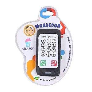 Mordedor Celular Smartphone Macio Para Bebê Preto Vila Toy