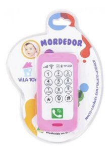 Mordedor Celular Smartphone Macio Para Bebê Rosa Vila Toy