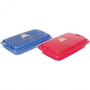 Kit Porta Máscaras com Trava 2 Peças - Azul e Vermelho