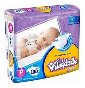 Kit Fralda Vitalidade Baby Mega P 400 unid - 4 Pacotes