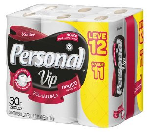 PAPEL HIGIÊNICO PERSONAL VIP FOLHA DUPLA C/ 12 ROLOS