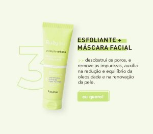 MASCARA FACIAL + ESFOLIANTE ANTIPOLUIÇÃO RUBY SKIN - RUBY ROSE