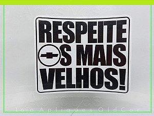 ADESIVO RESPEITE OS MAIS VELHOS - CARROS ANTIGOS CHEVROLET (COLAGEM INTERNA)