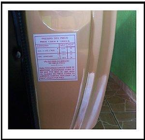 Adesivo Selo Pressão e Medida Dos Pneus Opala/Caravan até 80