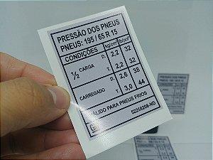 Adesivo Selo Pressão e Medida Dos Pneus / Diplomata 91 e 92 PNEU 195/65 R15