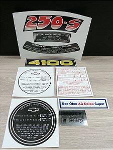 Kit Completo de Adesivos Opala 6cil. Motor 4100 e 250-s (Motor Vermelho) - Selos e Adesivos do Cofre, Motor e Lataria