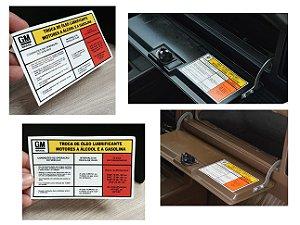 Adesivo Troca de Óleo Lubrificante Motores a Álcool e a Gasolina - Porta Luvas - Comodoro / Diplomata 4cil e 6cil