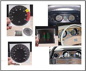 Kit de Apliques Painel Instrumentos - Opala / Caravan SS e Comodoro 250-S - ( Conta-Giros 7000 RPm + Marcadores COMB e TEMP Central  + Velocímetro 200KM)
